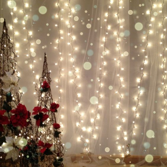 glamorous white lights and tulle for a soft christmas backdrop