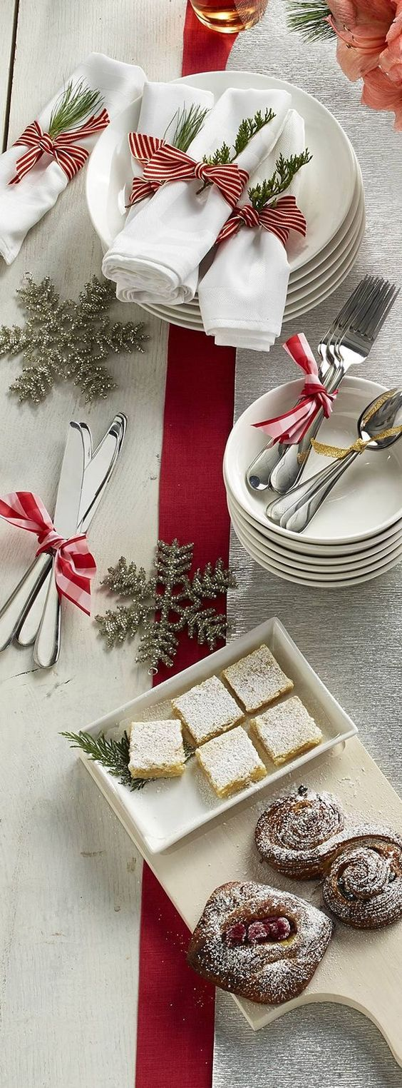 Glitter snowflake, stripes red and white ribbon are perfect for table decor at Christmas.