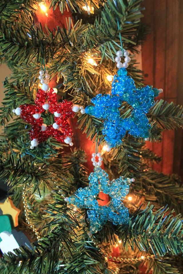 Glittery star Christmas ornaments.