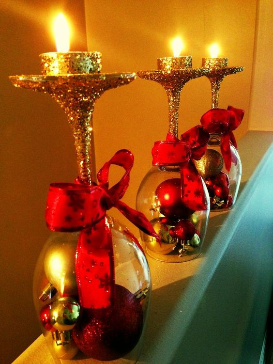 Gorgeous decoration with wine glasses, glitter, ribbon and ornaments.