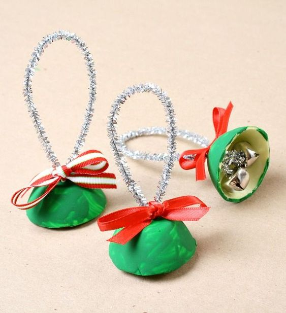 Gorgeous egg carton Christmas bells craft for kids.