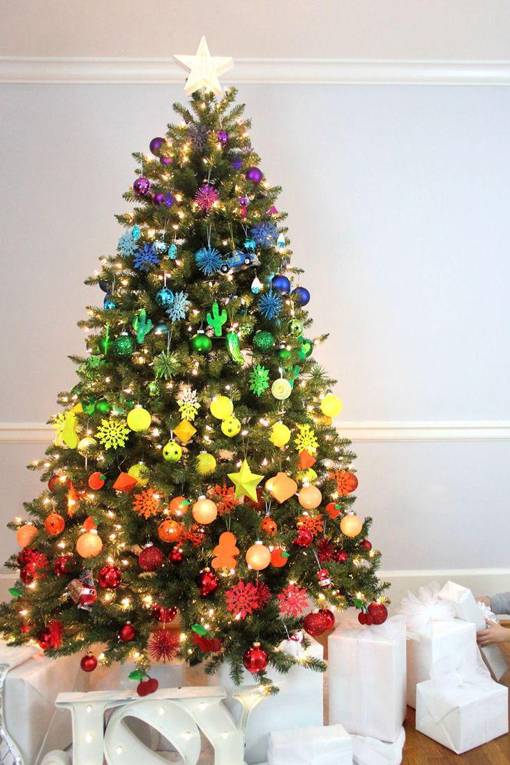 Gorgeous rainbow Christmas tree decoration idea.