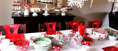 Gorgeous red and white theme Christmas party table setting.