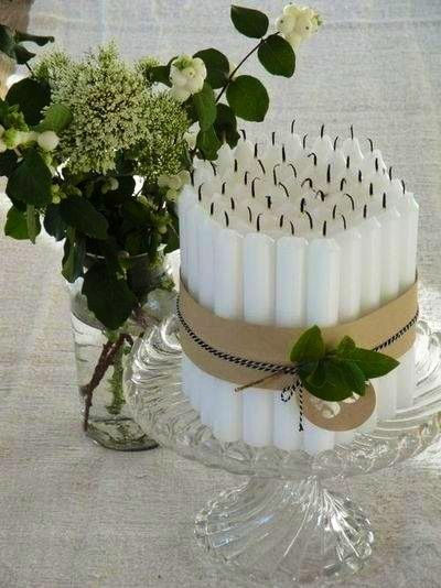 Graceful and simple bundle of candles to decorate home for Christmas.