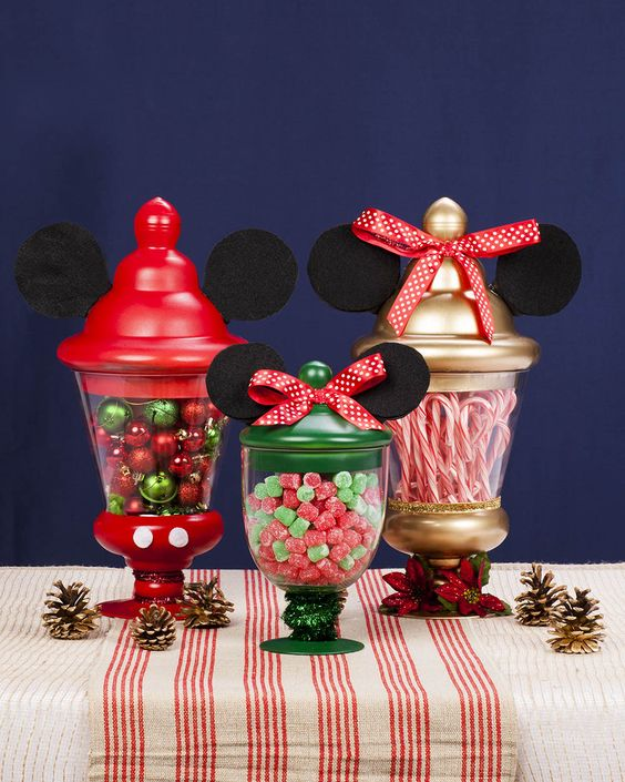Graceful mickey and minnie theme sweet centerpiece.