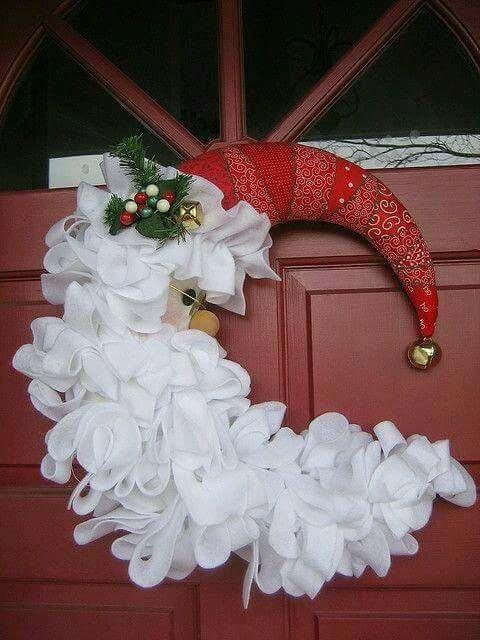 Half moon Santa face Christmas wreath.