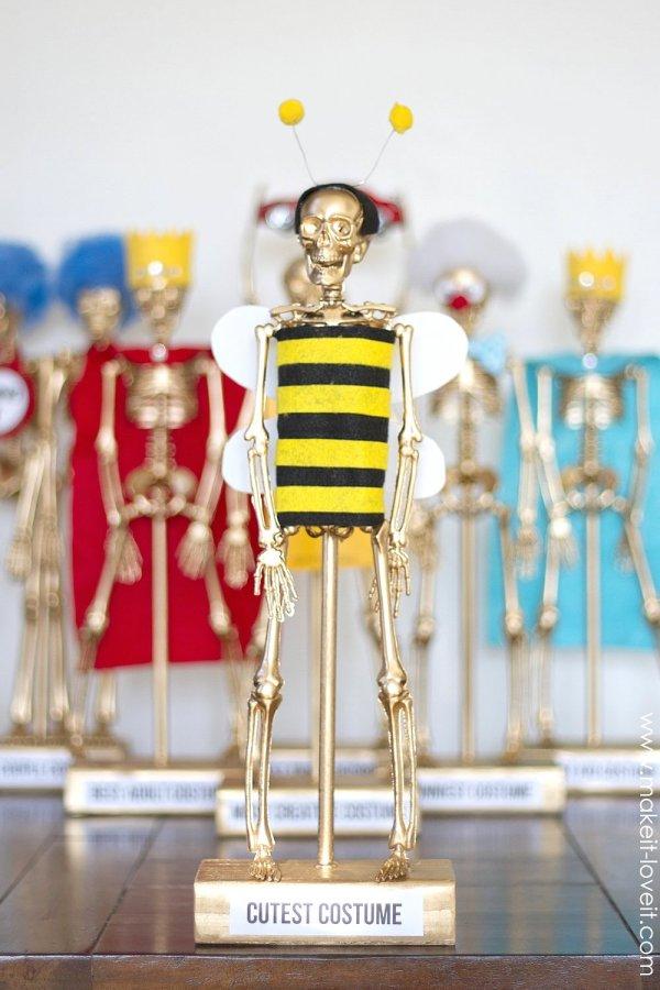 Halloween costume award trophies.