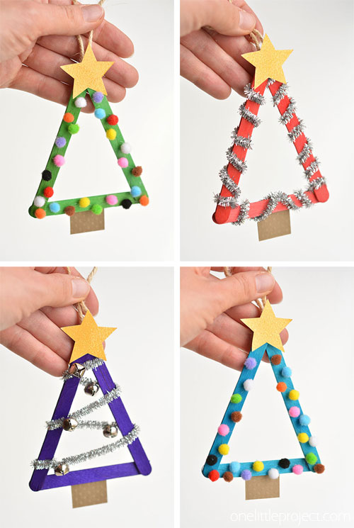 Handmade popsicle tree for Christmas decoration.
