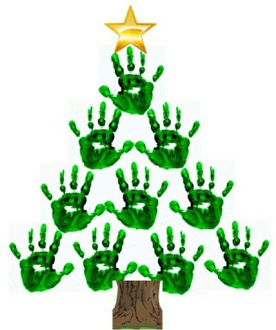 Handprint Christmas tree with star topper.