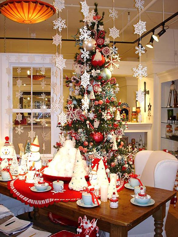 Hanging snowflakes, decorated Christmas tree and snowman on dinning table all are perfect for Christmas party decoration.