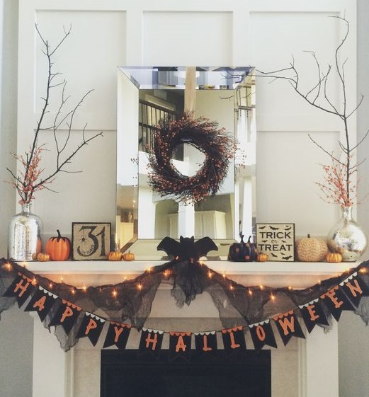 Happy Halloween garland, wreath and lights for beautiful mantel decor.