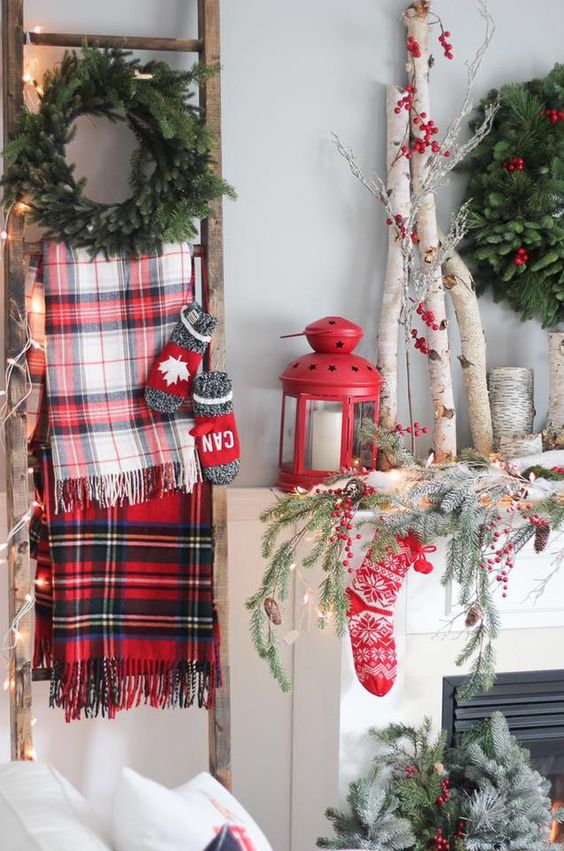 Heritage Christmas decoration With ladder, garland , lamp and stocking.