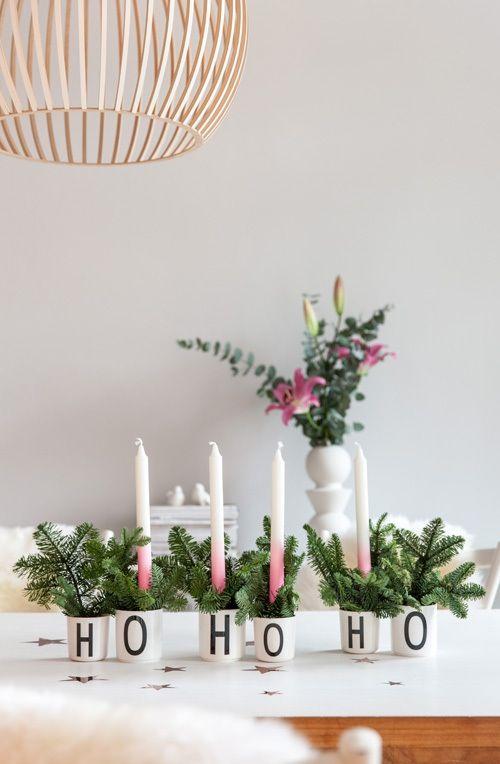Ho Ho wreath in enamel cup.