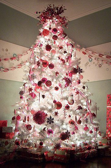 Hot Pink Ornaments On White X Mas Tree