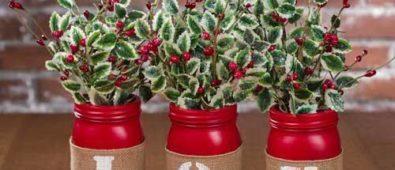 JOY mason jar Christmas centerpiece.