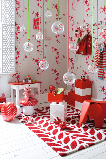 Jolly red and white Christmas decor with hanging candy ball advent calendar.