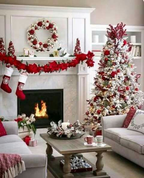 Living room is decorated beautifully for Christmas party.