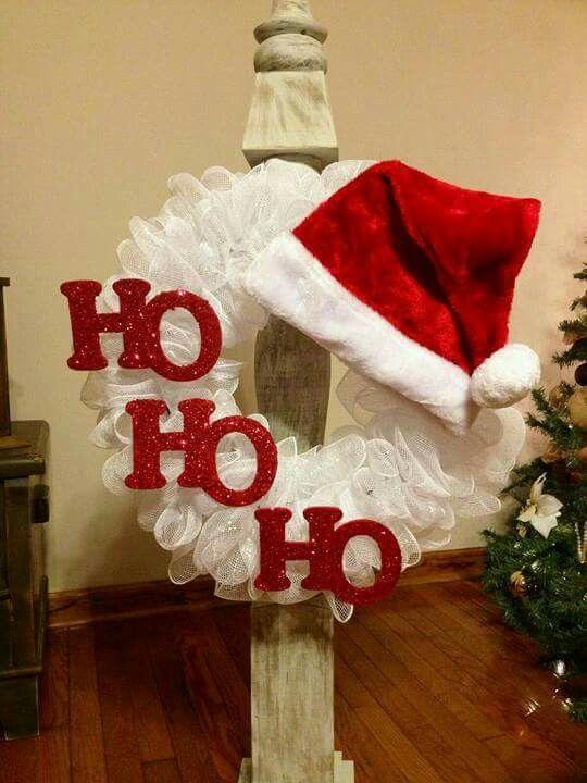 Lovely Ho Ho Christmas wreath with Santa cap.