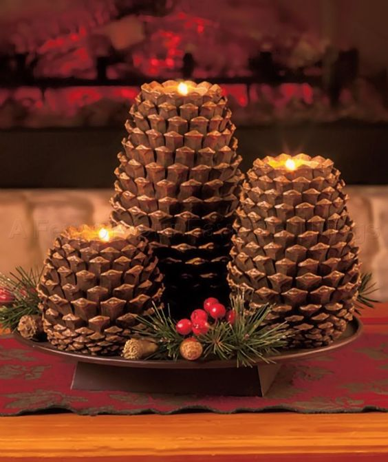 Lovely pinecone Candles for Christmas decoration.
