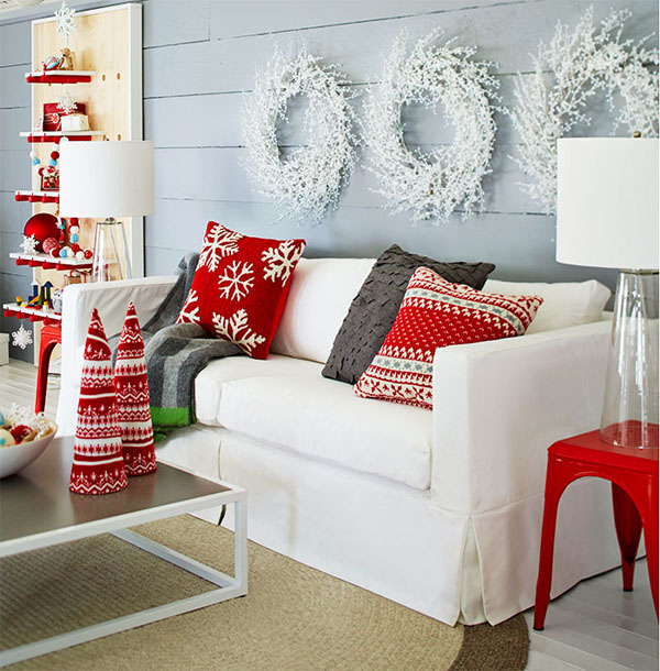 Lovely red and white living area decoration.