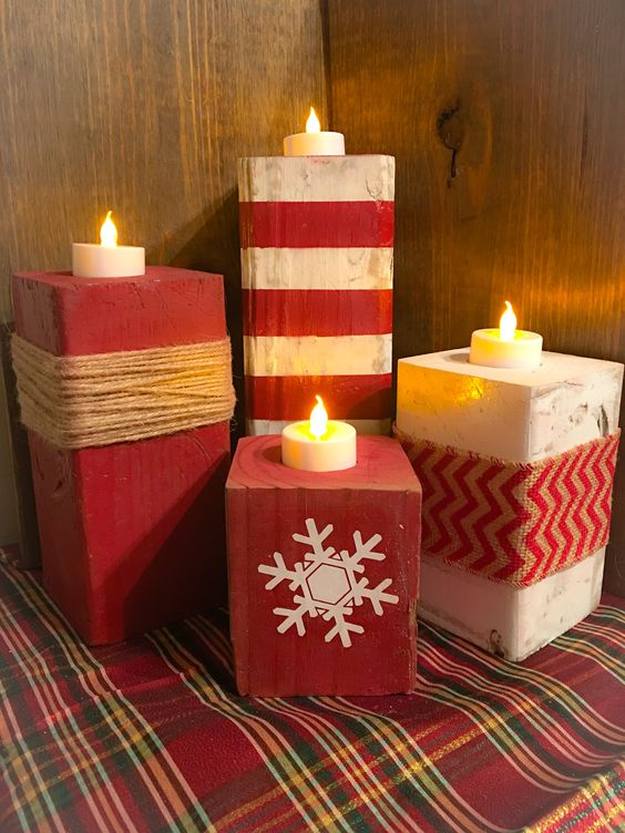 Lovely red and white wooden candle holder for Christmas.