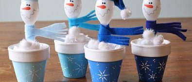 Make a wonderful plastic spoon snowman and clay pots.