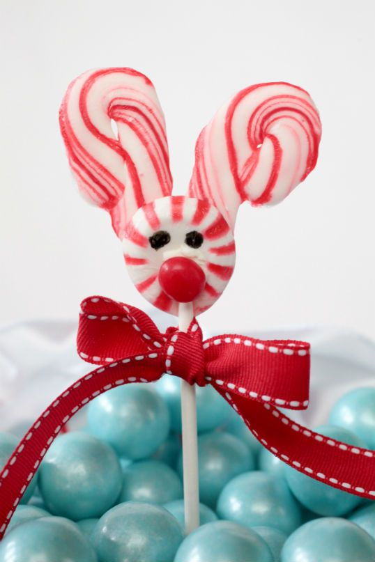 Melted candy cane and peppermint lollipops for kids party.