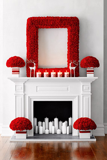 Mind-blowing red and white mantel decoration.