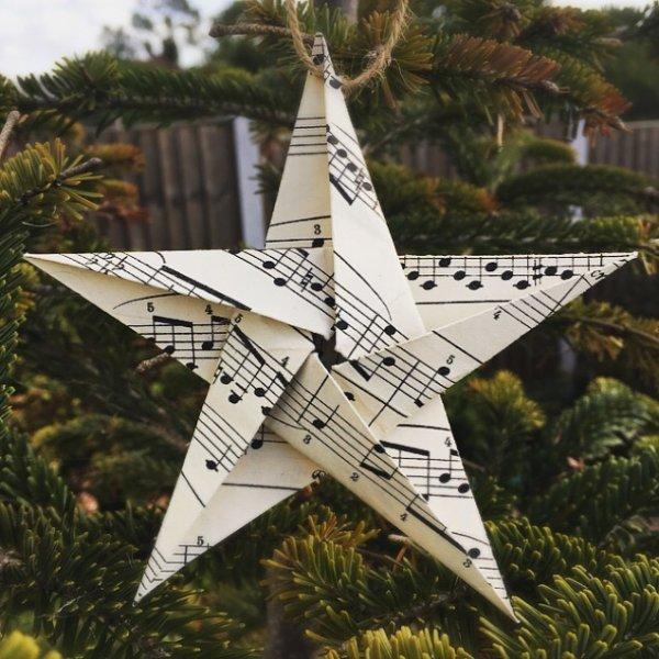 Music lover paper star Christmas tree ornament.