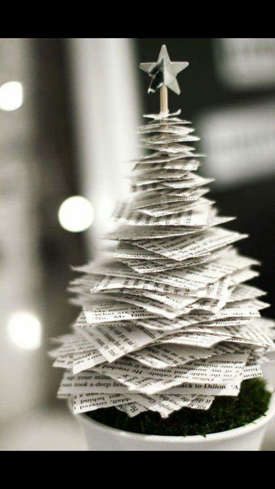Old newspaper cutting stack tree.