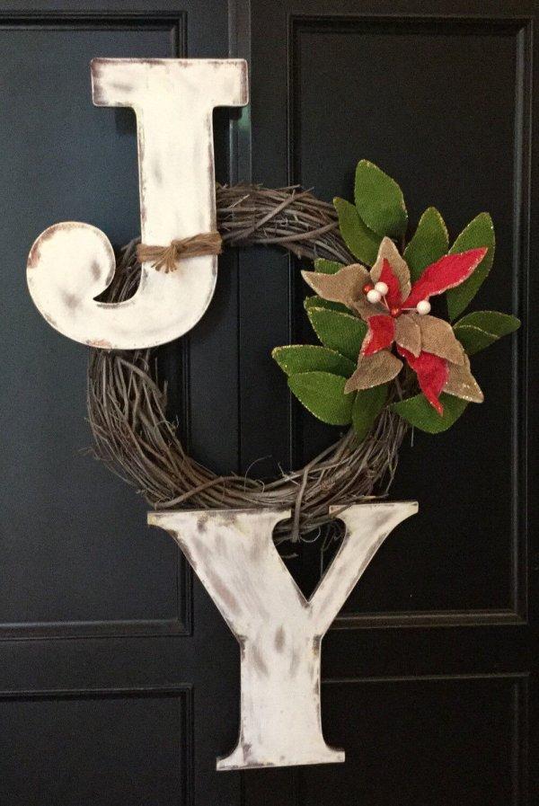Poinsettia sign Joy wreath.