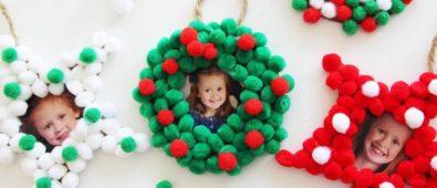 Pretty pom pom picture Christmas tree ornaments.