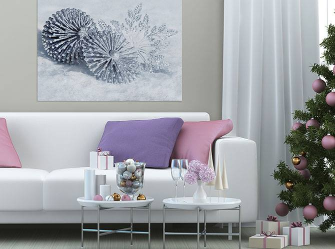 Pretty purple and pink theme living room decor with purple and golden ornaments on tree