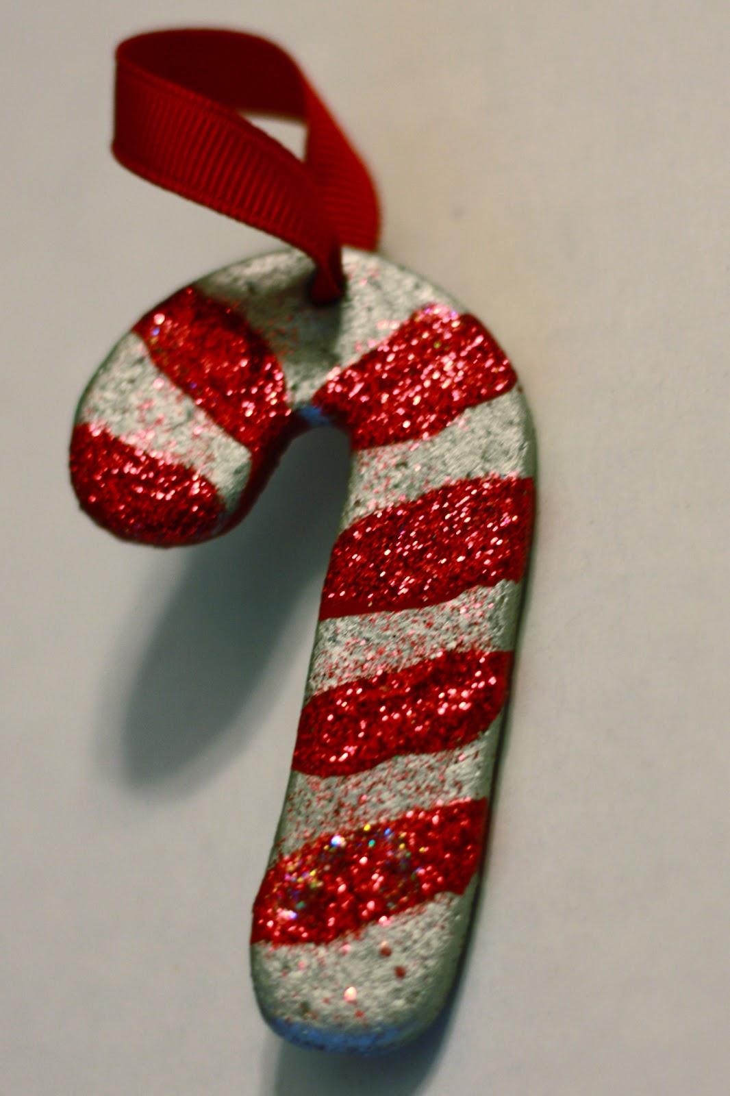 Pretty salt dough candy cane ornament for Christmas tree.