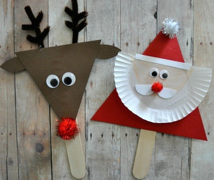 Quick Christmas craft of reindeer and santa.