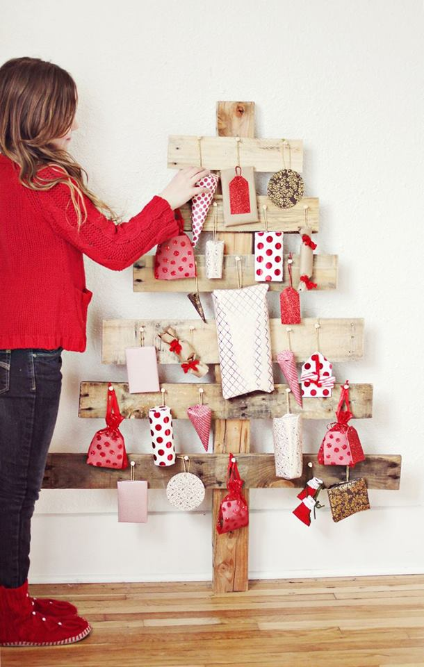 Ravishing wood pallet advent calendar.
