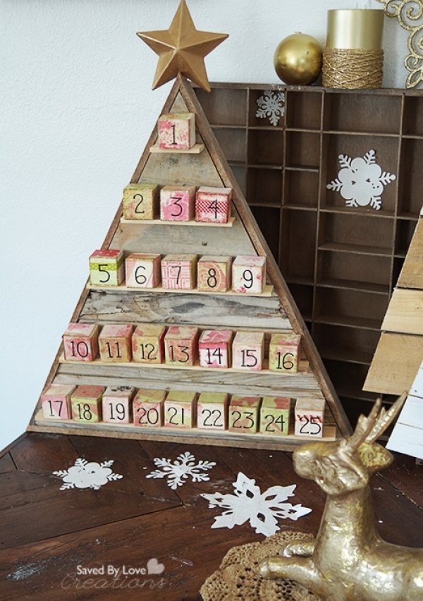 Reclaimed wood diy advent calendar idea.