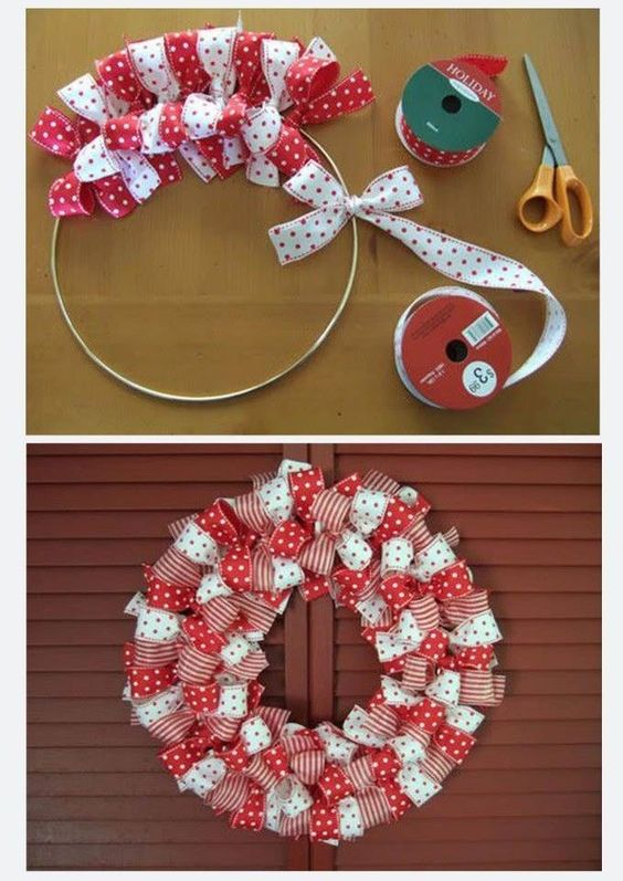 Red and white polka dots ribbon wreath.