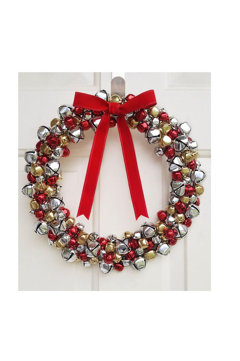 Red, silver and golden jingle bell wreath.