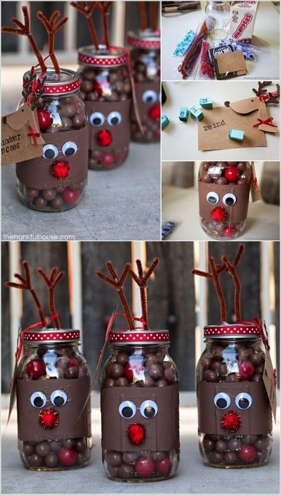 Reindeer mason jar craft.
