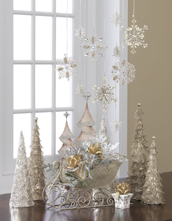 Rocking silver crystal Christmas home decor for party.