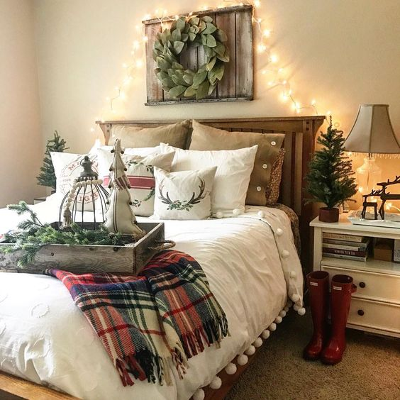 Scandinavian bedroom decoration idea with Christmas bedding.