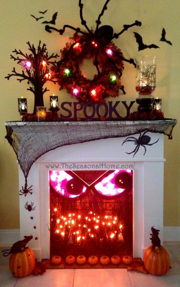Scary fireplace decor for Halloween party.