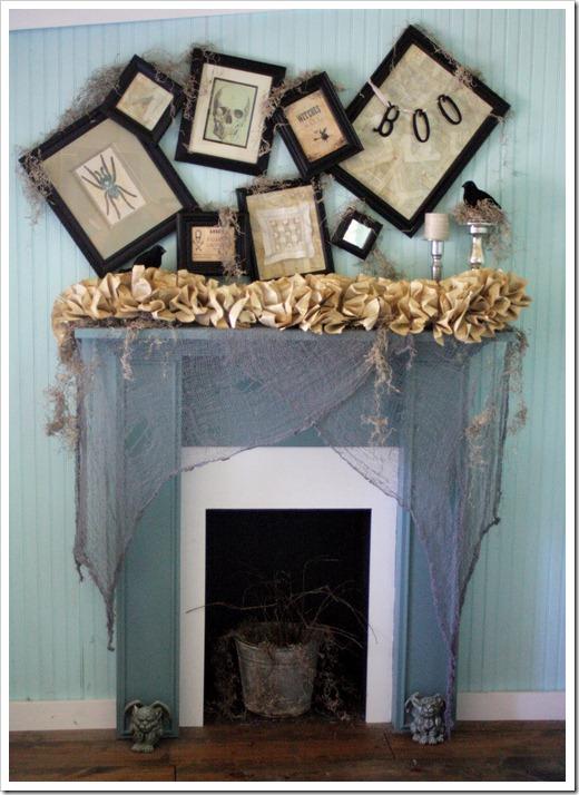 Scary halloween mantel decoration idea.