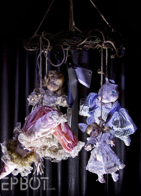 Scary hanging doll decor for halloween party.