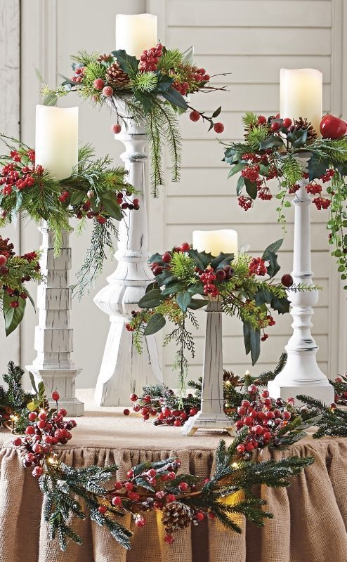 Set of five winter berry candle rings bring festive charm.
