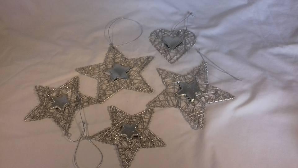 Silver Christmas tree ornaments.