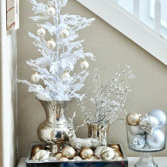 Silver and golden theme Christmas decoration of home.