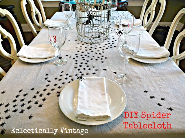 Simple table decor with diy spider table cloth.