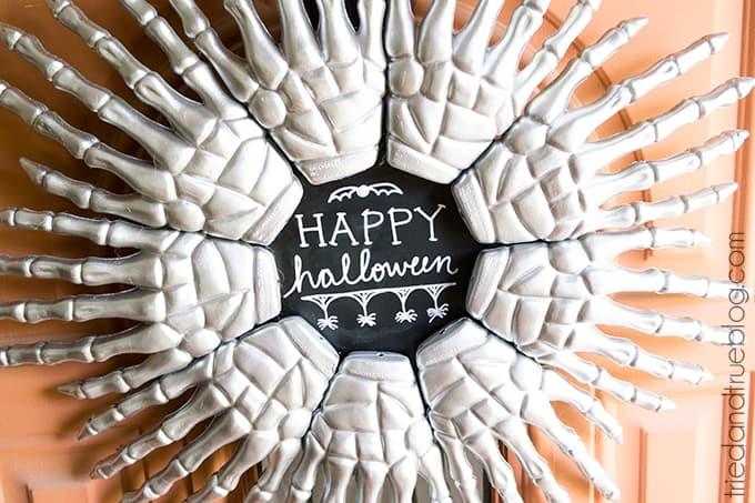 Skeleton hands Halloween wreath.
